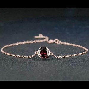 Red Garnet & Rose Gold Plated Bracelet 101390